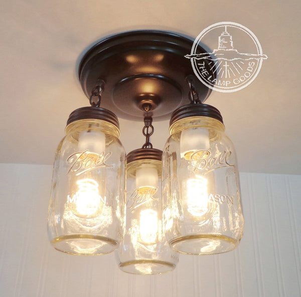 Mason Jar LIGHT FIXTURE New Quart Trio - Mason Jar Light Fixture - The Lamp Goods - 2