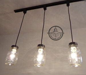Mason Jar TRACK LIGHTING Pendant SINGLE New Quart - The Lamp Goods