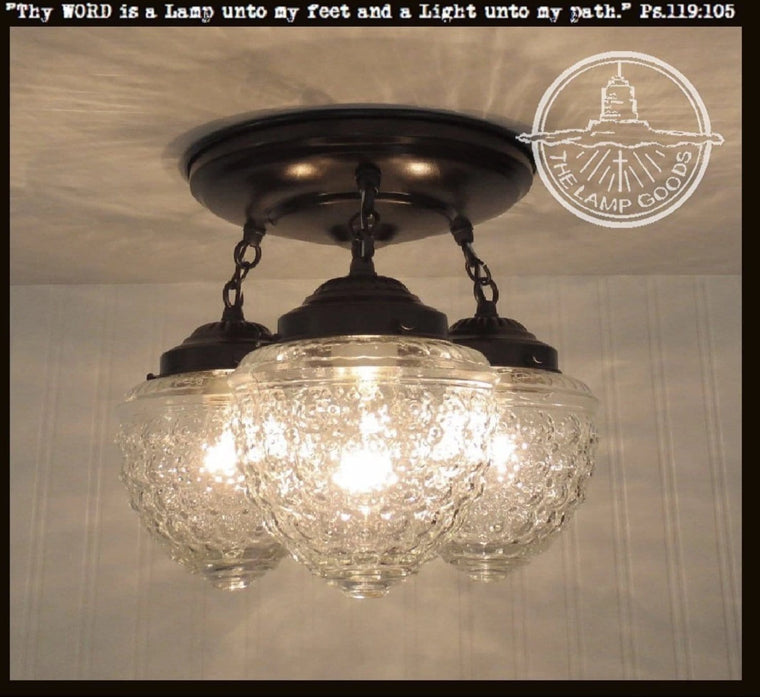 Glass ceiling light fixtures flush mount pendant lights seeded ceiling lighting fixture trio the lamp goods aloadofball Gallery