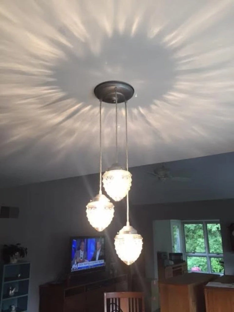 Island Falls II. Pendant CHANDELIER Light Trio - Clear Glass Lighting Fixtues - The Lamp Goods - 6