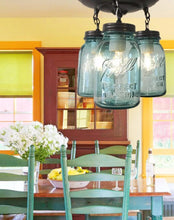 Load image into Gallery viewer, Vintage Blue Mason Jar Ceiling Lighting Fixture Trio - The Lamp Goods