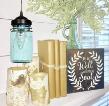 Load image into Gallery viewer, Vintage BLUE Mason Jar PENDANT Light - The Lamp Goods
