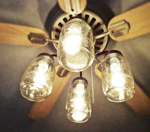 Mason Jar Ceiling Fan Light Kit New Quart Jars - The Lamp Goods