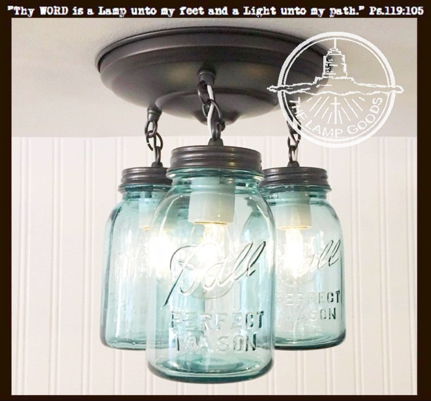 Vintage Blue Mason Jar Ceiling Lighting Fixture Trio The Lamp Goods