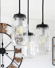 Load image into Gallery viewer, Mason Jar 3-Light CHANDELIER Trio New Quarts - The Lamp Goods