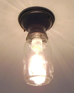 Mason Jar Ceiling LIGHT New Quart Single - The Lamp Goods