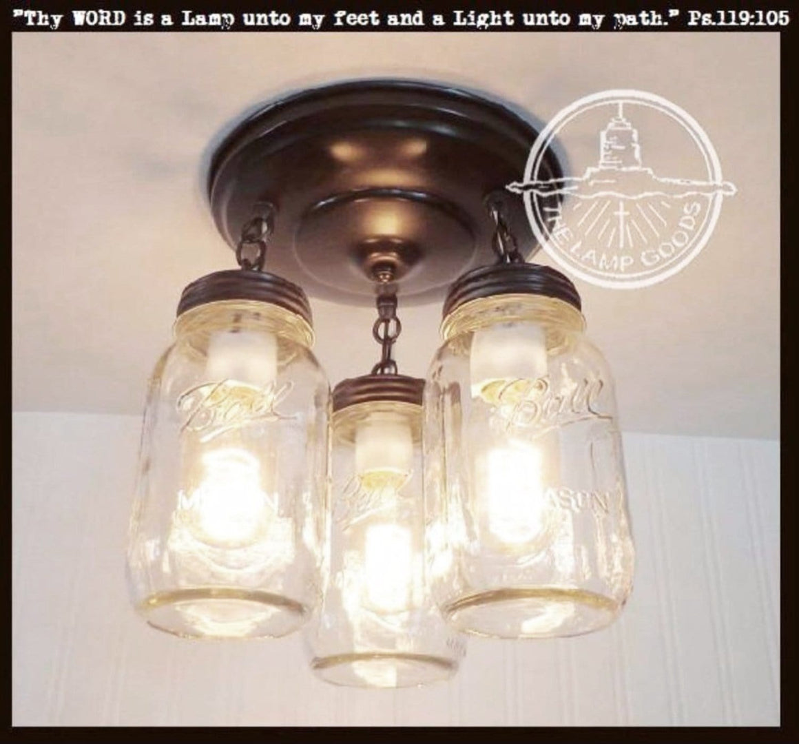 A Mason Jar LIGHT FIXTURE New Quart Trio - The Lamp Goods