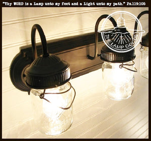 Mason Jar VANITY Light Fixture - Vintage Pint