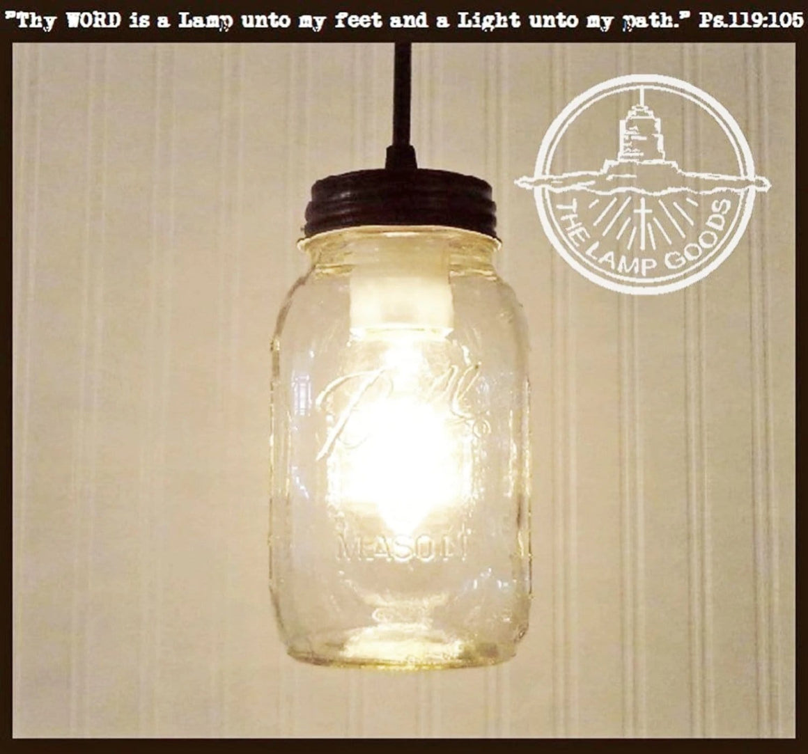Mason Jar Pendant Light NEW Quart