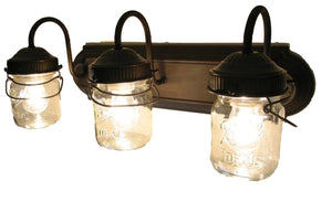 Mason Jar VANITY Light Fixture - Vintage Pint - The Lamp Goods