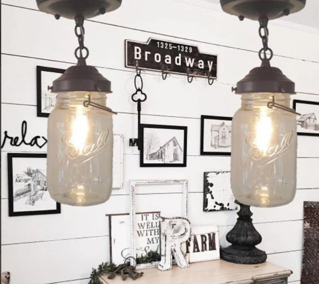 Mason Jar Ceiling LIGHT With Chain & VINTAGE Quart