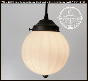 PENDANT Light of Fluted Milk Glass - The Lamp Goods