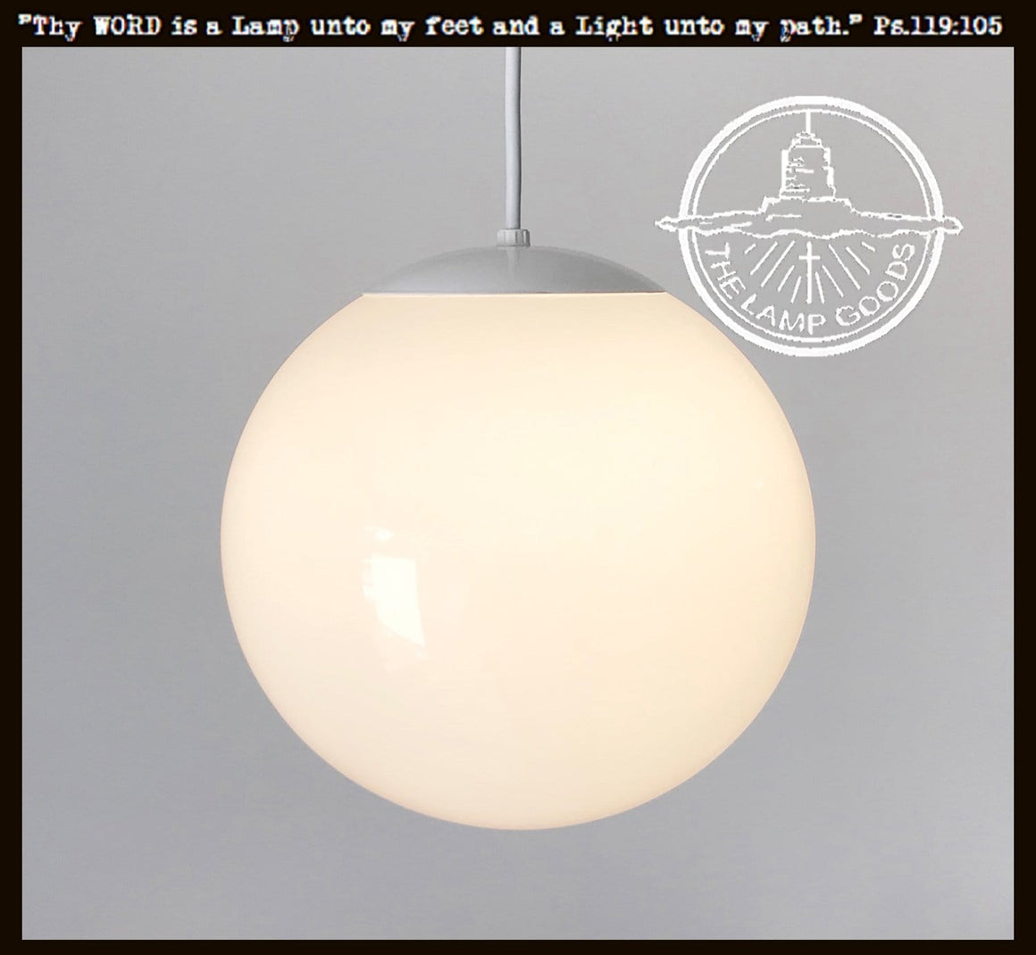 "Modern PENDANT Light of 10"" Milk Glass Globe - The Lamp Goods"