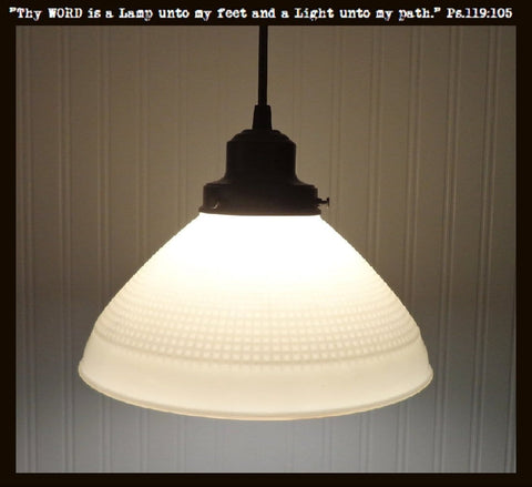 Antique PENDANT Light of Vintage Milk Glass with Edison Bulb