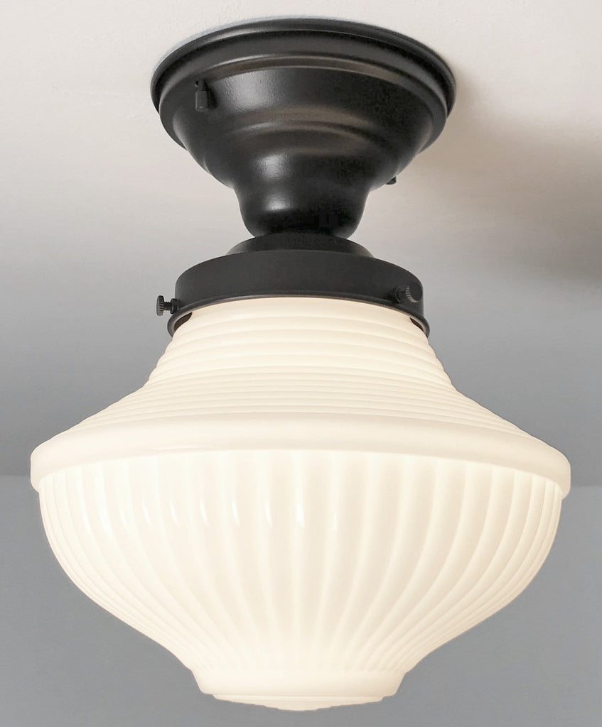 Traditional Milk Glass CEILING LIGHT Fixture - The Lamp Goods
