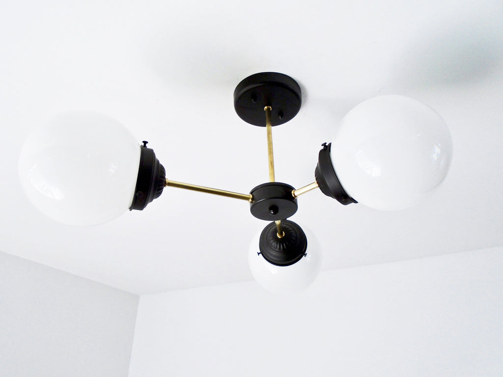 MODERN Milk Glass CEILING LIGHT Trio - The Lamp Goods