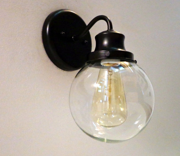 Biddeford II. Glass WALL Light with Edison Bulb - Clear Glass Lighting Fixtues - The Lamp Goods - 4