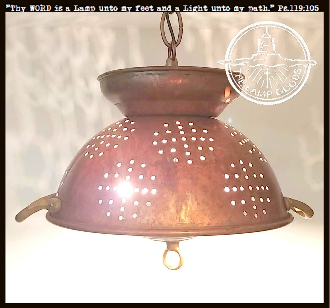 Patina Copper & Brass Colander Ceiling Light - The Lamp Goods