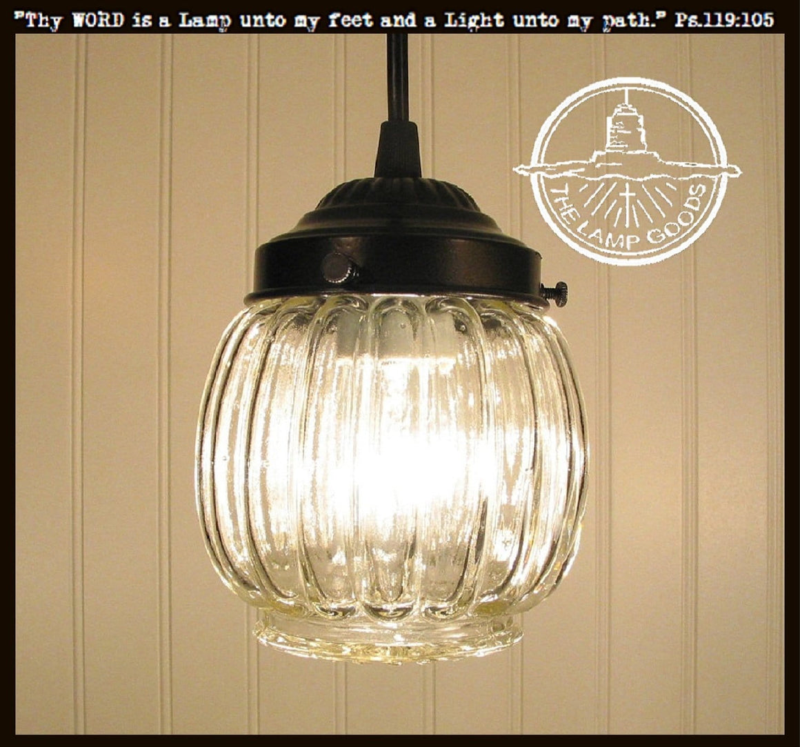 Vintage Clear Glass  PENDANT Light - The Lamp Goods