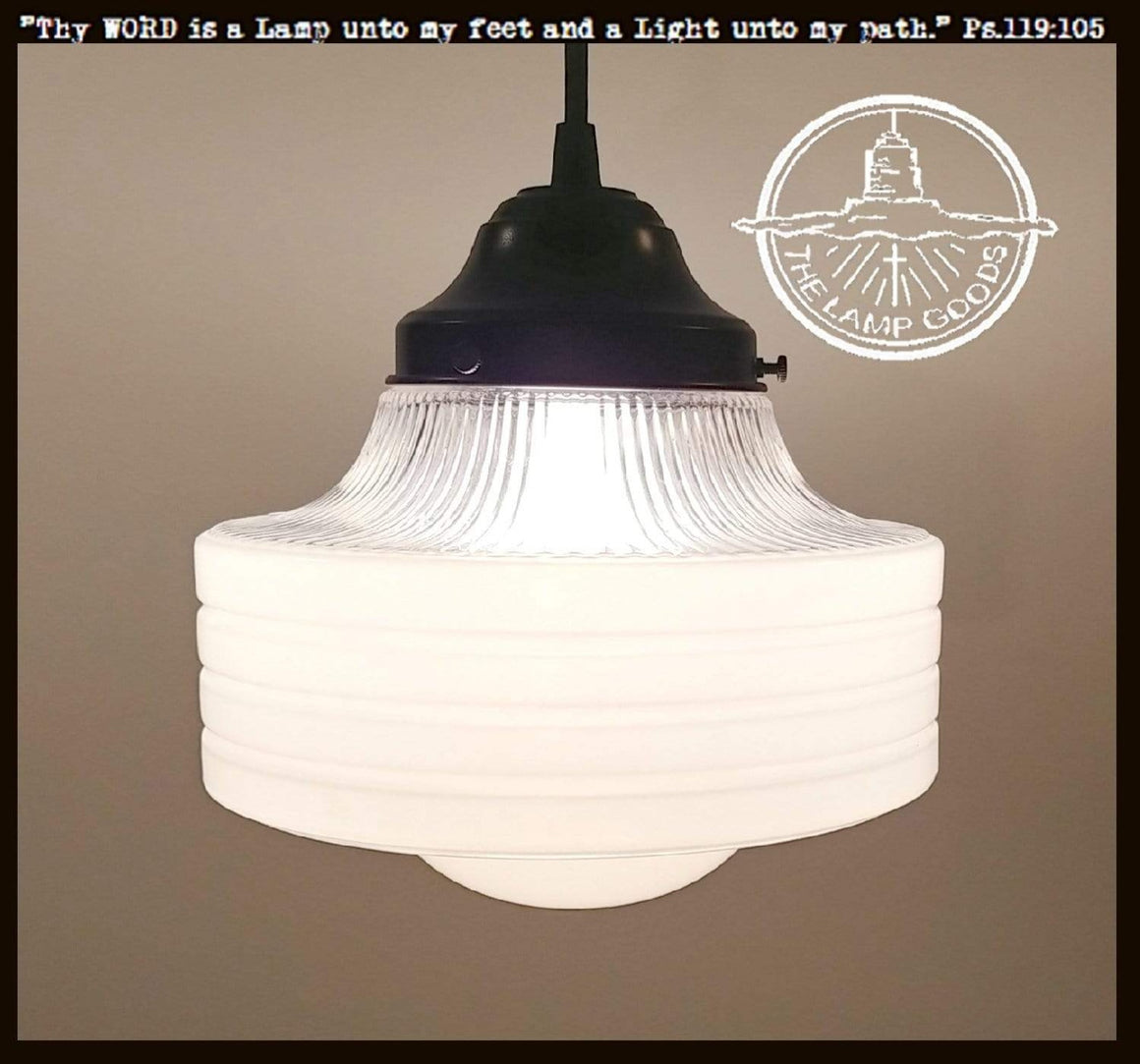 Retro Frost & Clear Glass Pendant Light - The Lamp Goods