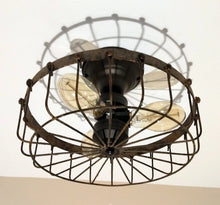 Load image into Gallery viewer, Rustic INDUSTRIAL Flush Mount Ceiling Light Cage - The Lamp Goods