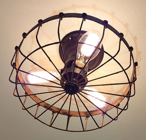 Rustic Flush Mount Cage Ceiling Light - The Lamp Goods