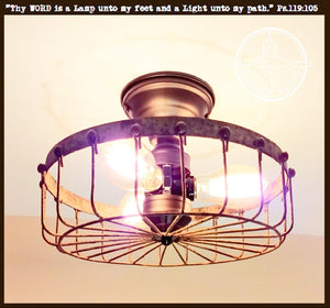 Rustic Flush Mount Cage Ceiling Light