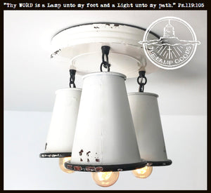 Rustic White Enamel Farmhouse Trio Ceiling Light - The Lamp Goods