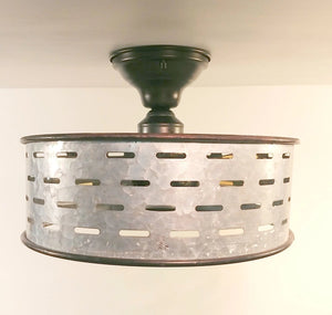 Galvanized Metal Ceiling Light Farmhouse Fixture - The Lamp Goods