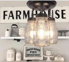 Load image into Gallery viewer, A Mason Jar LIGHT FIXTURE New Quart Trio - The Lamp Goods