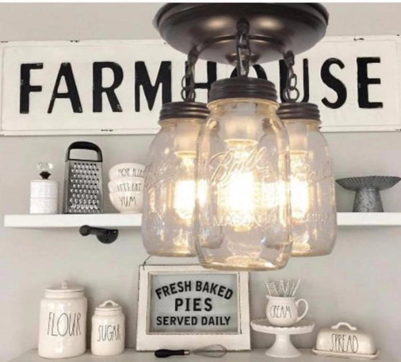 A Mason Jar LIGHT FIXTURE New Quart Trio - Mason Jar Light Fixture - The Lamp Goods - 1