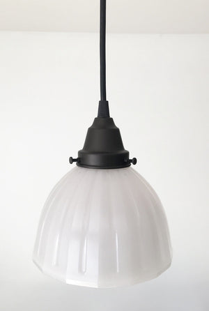Vintage PENDANT Light of Vaseline Glass Fluted - The Lamp Goods