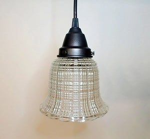 Vintage Clear Holophane Glass PENDANT Light - The Lamp Goods