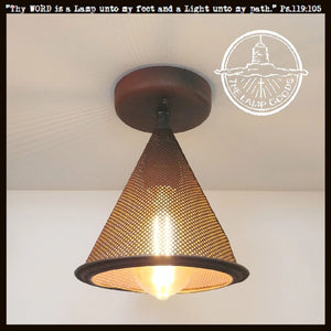 Rustic Screen Farmhouse Funnel Light - The Lamp Goods