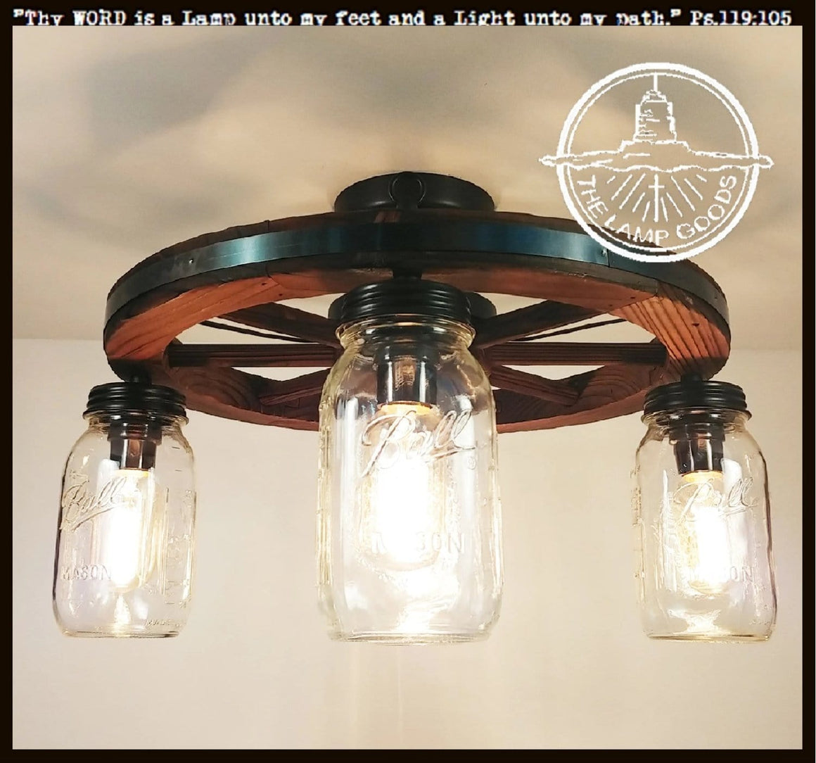 Wooden Wagon Wheel Ceiling Light of Mason Jars - The Lamp Goods