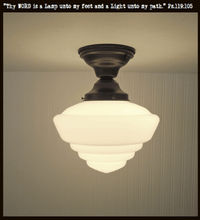 Load image into Gallery viewer, Windham. Milk Glass Schoolhouse CEILING LIGHT Fixture - The Lamp Goods