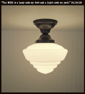 Windham. Milk Glass Schoolhouse CEILING LIGHT Fixture - The Lamp Goods