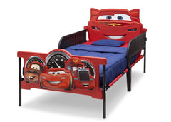 Delta Children Cars 3D Twin Bed, Right View with guardrails, a3a