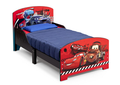 Cars Wooden Toddler Bed with Guardrails