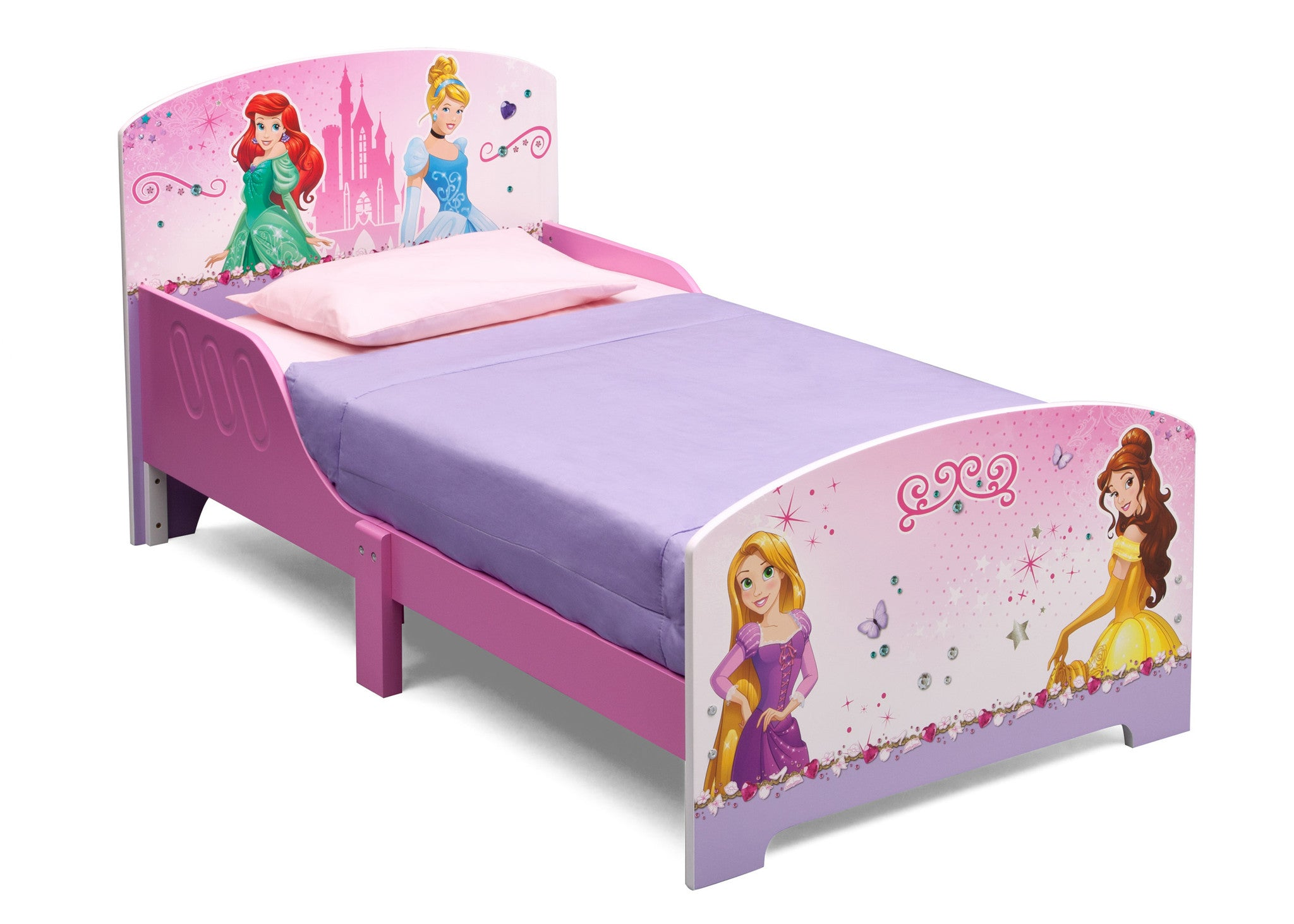 Princess Wooden Toddler Bed With Guardrails Delta