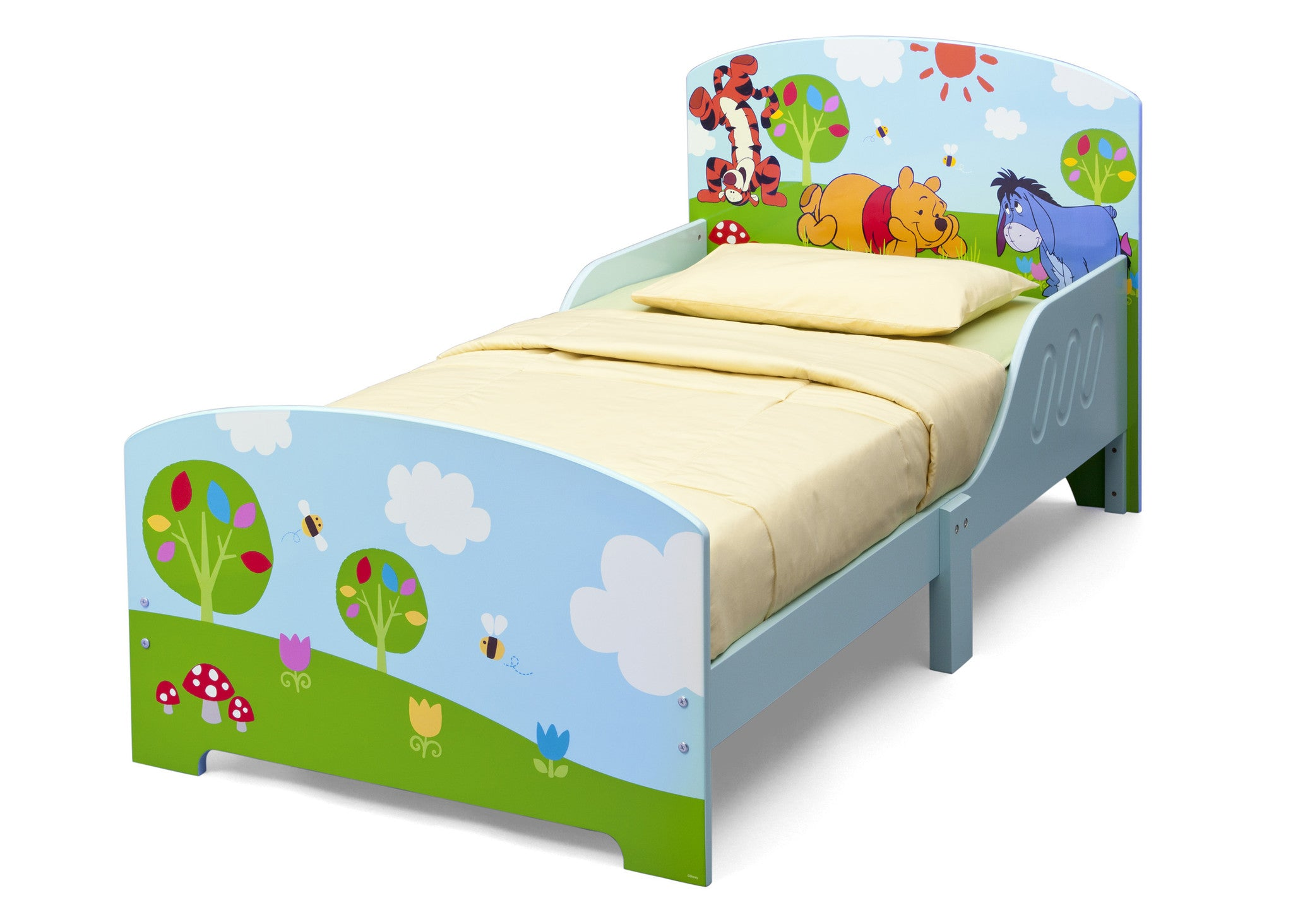 delta children winnie the pooh wooden toddler bed right view a2a