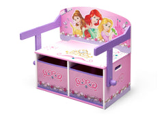 Delta Children Princess 3-in-1 Storage Bench and Desk Left View Closed a4a