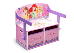 Delta Children Princess 3-in-1 Storage Bench and Desk Right View Closed a2a