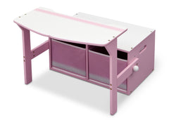 Delta Children Pink / White Generic 3-in-1 Storage Bench and Desk Left View Open b3b