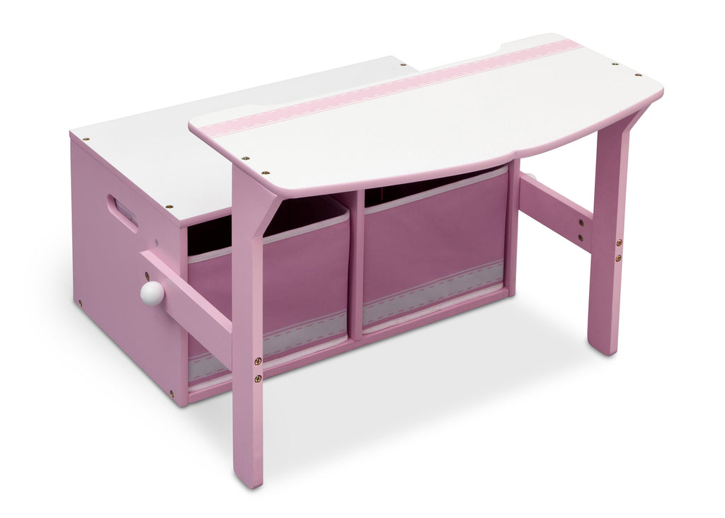 Delta Children Pink / White Generic 3-in-1 Storage Bench and Desk Right View Open b1b