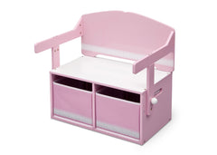 Delta Children Pink / White Generic 3-in-1 Storage Bench and Desk Left View Closed b4b