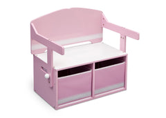 Delta Children Pink / White Generic 3-in-1 Storage Bench and Desk Right View Closed b2b