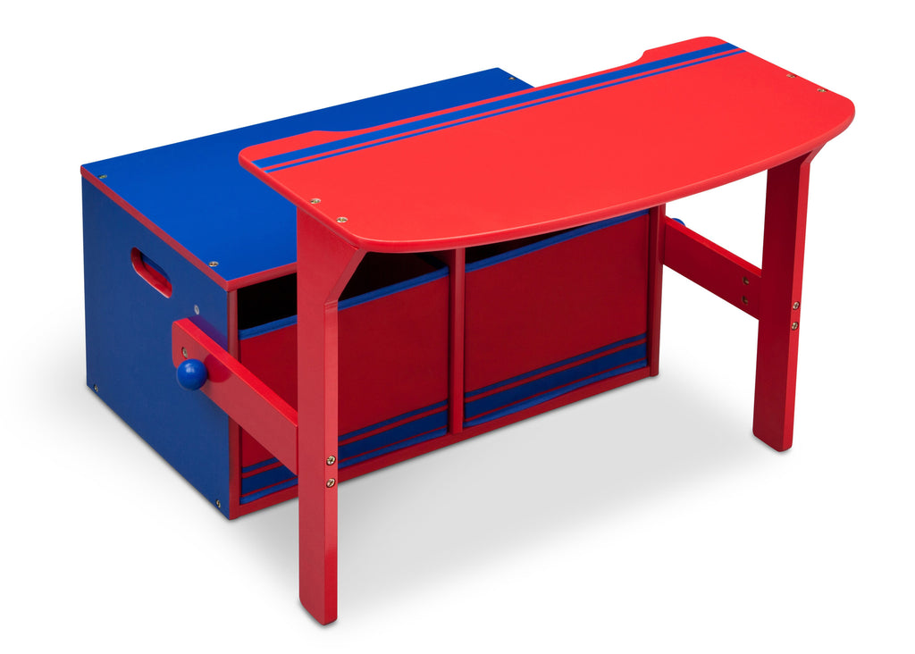 Delta Children Blue / Red Generic 3-in-1 Storage Bench and Desk Right View Open a1a