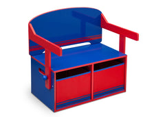 Delta Children Blue / Red Generic 3-in-1 Storage Bench and Desk Right View Closed a2a