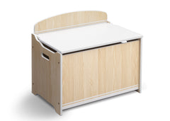 Delta Children Natural / White Wooden Toy Box, Left View a2a